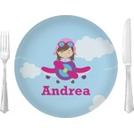 "Airplane & Girl Pilot Glass Lunch / Dinner Plates 10"" - Single or Set (Personalized)"