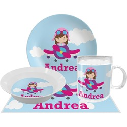 Airplane & Girl Pilot Dinner Set - 4 Pc (Personalized)