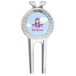 Airplane & Girl Pilot Golf Divot Tool & Ball Marker (Personalized)