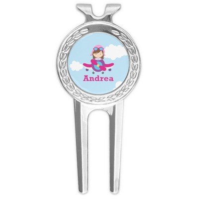 Airplane & Girl Pilot Golf Divot Tool & Ball Marker (Personalized)