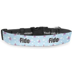 "Airplane & Girl Pilot Deluxe Dog Collar - Large (13"" to 21"") (Personalized)"