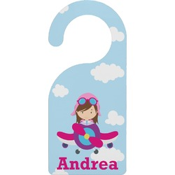 Airplane & Girl Pilot Door Hanger (Personalized)
