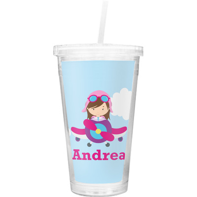 Airplane & Girl Pilot Double Wall Tumbler with Straw (Personalized)