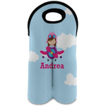 Airplane & Girl Pilot Wine Tote Bag (2 Bottles) (Personalized)