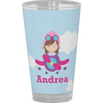 Airplane & Girl Pilot Drinking / Pint Glass (Personalized)