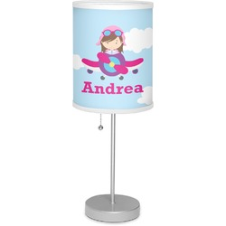 """Airplane & Girl Pilot 7"""" Drum Lamp with Shade Linen (Personalized)"""