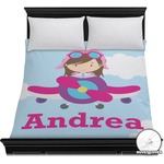 Airplane & Girl Pilot Duvet Cover (Personalized)