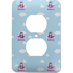 Airplane & Girl Pilot Electric Outlet Plate (Personalized)