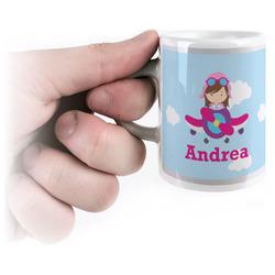 Airplane & Girl Pilot Espresso Cups (Personalized)