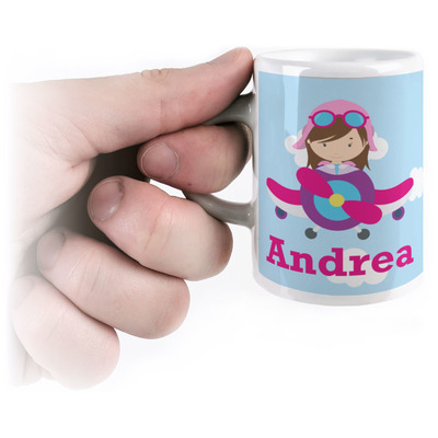 Airplane & Girl Pilot Espresso Cups (Personalized)