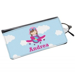 Airplane & Girl Pilot Genuine Leather Eyeglass Case (Personalized)