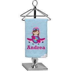 Airplane & Girl Pilot Finger Tip Towel - Full Print (Personalized)