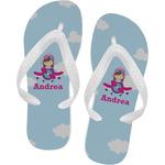 Airplane & Girl Pilot Flip Flops (Personalized)