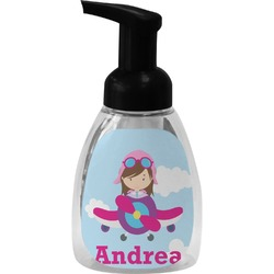 Airplane & Girl Pilot Foam Soap Bottle (Personalized)