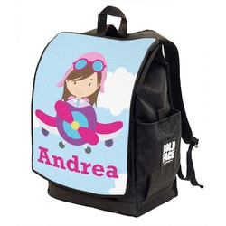 Airplane & Girl Pilot Backpack w/ Front Flap  (Personalized)