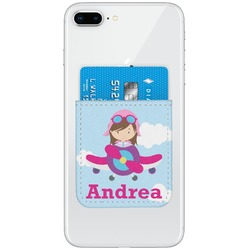 Airplane & Girl Pilot Genuine Leather Adhesive Phone Wallet (Personalized)
