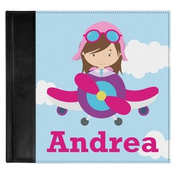 Airplane & Girl Pilot Genuine Leather Baby Memory Book (Personalized)