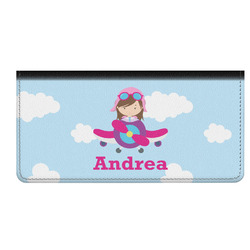 Airplane & Girl Pilot Genuine Leather Checkbook Cover (Personalized)