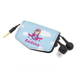 Airplane & Girl Pilot Genuine Leather Cord Wrap (Personalized)