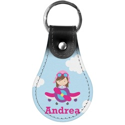 Airplane & Girl Pilot Genuine Leather  Keychain (Personalized)