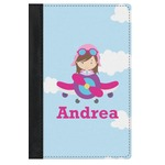 Airplane & Girl Pilot Genuine Leather Passport Cover (Personalized)