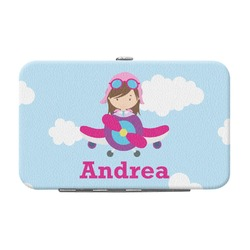 Airplane & Girl Pilot Genuine Leather Small Framed Wallet (Personalized)