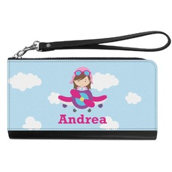Airplane & Girl Pilot Genuine Leather Smartphone Wrist Wallet (Personalized)