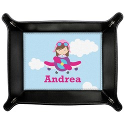 Airplane & Girl Pilot Genuine Leather Valet Tray (Personalized)