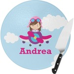 Airplane & Girl Pilot Round Glass Cutting Board (Personalized)