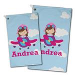 Airplane & Girl Pilot Golf Towel - Full Print w/ Name or Text
