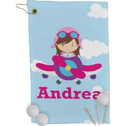 Airplane & Girl Pilot Golf Towel - Full Print (Personalized)