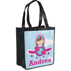 Airplane & Girl Pilot Grocery Bag (Personalized)
