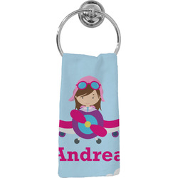 Airplane & Girl Pilot Hand Towel - Full Print (Personalized)