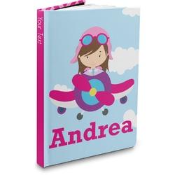 Airplane & Girl Pilot Hardbound Journal (Personalized)