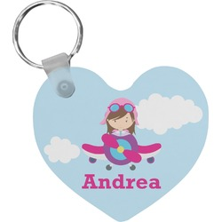 Airplane & Girl Pilot Heart Keychain (Personalized)