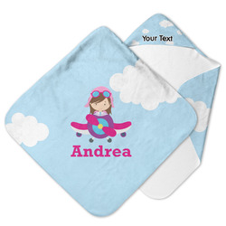 Airplane & Girl Pilot Hooded Baby Towel (Personalized)