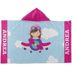 Airplane & Girl Pilot Kids Hooded Towel (Personalized)
