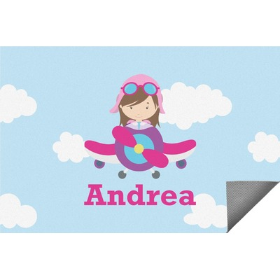 Airplane & Girl Pilot Indoor / Outdoor Rug (Personalized)