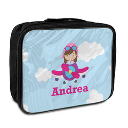 Airplane & Girl Pilot Insulated Lunch Bag (Personalized)