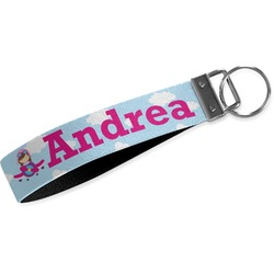 Airplane & Girl Pilot Webbing Keychain Fob - Small (Personalized)
