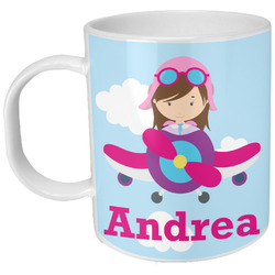 Airplane & Girl Pilot Plastic Kids Mug (Personalized)