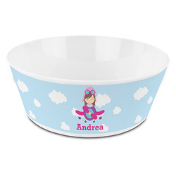 Airplane & Girl Pilot Kid's Bowl (Personalized)