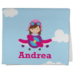 Airplane & Girl Pilot Kitchen Towel - Full Print (Personalized)