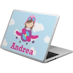 Airplane & Girl Pilot Laptop Skin - Custom Sized (Personalized)