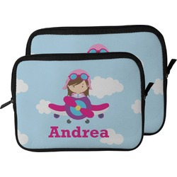 Airplane & Girl Pilot Laptop Sleeve / Case (Personalized)