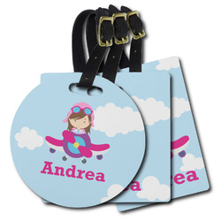 Airplane & Girl Pilot Plastic Luggage Tags (Personalized)
