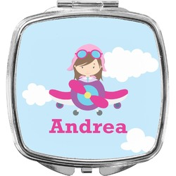 Airplane & Girl Pilot Compact Makeup Mirror (Personalized)