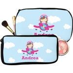 Airplane & Girl Pilot Makeup / Cosmetic Bag (Personalized)