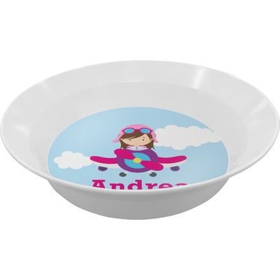 Airplane & Girl Pilot Melamine Bowl - 12 oz (Personalized)