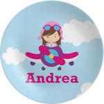 "Airplane & Girl Pilot Melamine Plate - 8"" (Personalized)"